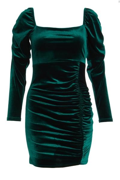 Petite Green Velvet Bodycon Dress